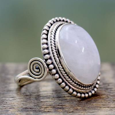 Rainbow moonstone cocktail ring, 'Rainbow Glow' - India Sterling Silver Cocktail Ring with Rainbow Moonstone