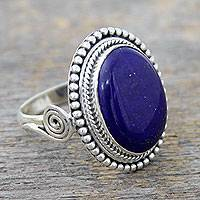 Lapis lazuli cocktail ring, 'Royal Blue Glow' - Sterling Silver Cocktail Ring with Lapis Lazuli from India