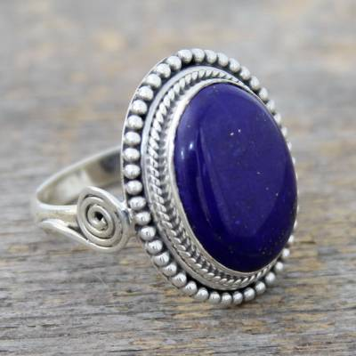silver ring engraving - Sterling Silver Cocktail Ring with Lapis Lazuli from India