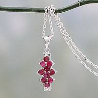 Ruby pendant necklace, 'Wealth of Love' - Artisan Crafted Ruby Necklace with Rhodium Plated Silver