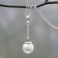 Cultured pearl Y necklace, 'Luminous Moonlight'