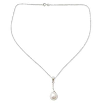 Cultured pearl Y necklace, 'Luminous Moonlight' - Cultured Pearl Handcrafted Sterling Silver Y-Necklace