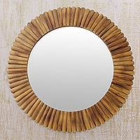 Bamboo wall mirror, 'Halo of Warmth' - Round Fair Trade Bamboo Wall Mirror
