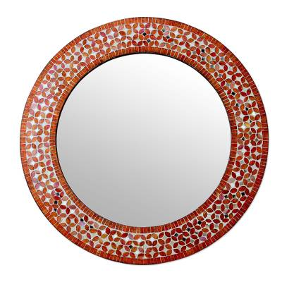 glass mosaic wall mirror petalsu0027 orange and white glass mosaic circular