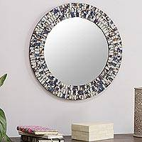Glass mosaic wall mirror, 'Silver Mystique' - India Handcrafted Silver and Blue Glass Mosaic Wall Mirror