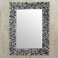 Glass mosaic wall mirror, 'Silver Twilight' - Silver Blue Brown Glass Mosaic Wall Mirror from India