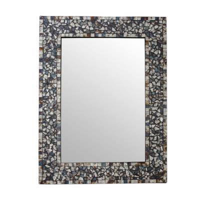 Glass mosaic wall mirror, 'Silver Twilight' - Silver Blue Brown Glass Mosaic Wall Mirror from India