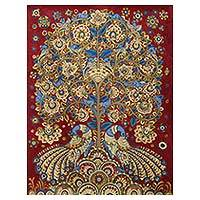 Kalamkari painting, 'Celebration II' (2014) - India Kalamkari Folk Painting in Burgundy and Blue (2014)
