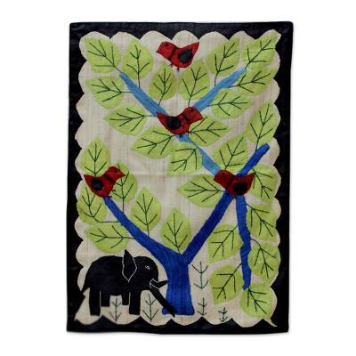 Silk wall hanging, 'Woodland Song' - Handcrafted Animal Theme Applique Silk Wall Hanging