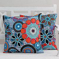 Beaded cotton cushion covers, 'Blue Flower Fest' (pair)