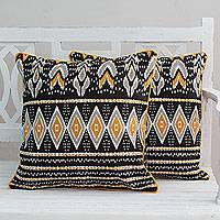 Cotton cushion covers, 'Flames' (pair) - Cotton Print India Brown and Yellow Cushion Covers (Pair)
