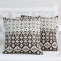 Cotton cushion covers, 'Abstract Leaves' (pair) - India Cotton Print Beige Brown Cushion Covers (Pair)