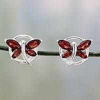 Garnet button earrings, 'Butterfly Gift' - Garnet Birthstone Sterling Silver Butterfly Earrings