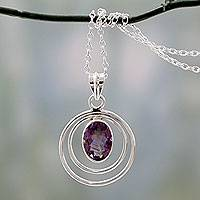 Amethyst pendant necklace, 'Twin Halo' - Modern Artisan Crafted Silver and Amethyst Pendant Necklace