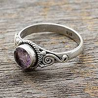 Amethyst cocktail ring, 'Assam Orchid' - Artisan Crafted Silver and Amethyst Ring from India