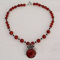 Carnelian and garnet flower necklace, 'Mystical Blossom' - Handcrafted Floral Pendant Necklace Carnelian and Garnet