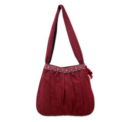 Novica Cotton shoulder bag, Trendy Claret