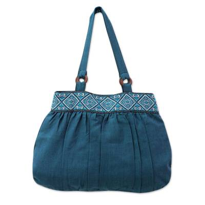Cotton shoulder bag, 'Assam Teal' - India Handwoven Teal Cotton Shoulder Bag