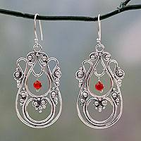 Carnelian dangle earrings, 'Beautiful Enchantress' - Traditional Sterling Silver Indian Earrings with Carnelian
