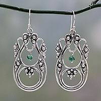 Onyx dangle earrings, 'Beautiful Enchantress' - Green Onyx on Traditional Sterling Silver Indian Earrings