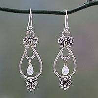 Rainbow moonstone dangle earrings, 'Classical Beauty'