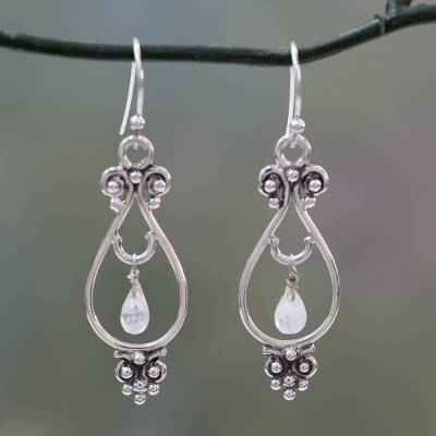 Rainbow moonstone dangle earrings, 'Classical Beauty' - Artisan Crafted Sterling Silver Rainbow Moonstone Earrings