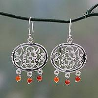 Carnelian dangle earrings, 'Mughal Visions' - Carnelian on Sterling Silver Earrings India Artisan Jewelry