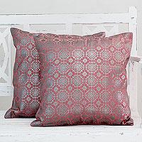 Cotton cushion covers, 'Silver Rose Garden' (pair)