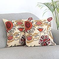 Embroidered cushion covers, 'Cheerful Garden' (pair) - Embroidered Flowers on Square Cotton Cushion Covers (Pair)