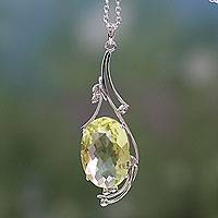 Lemon quartz pendant necklace, 'Mindful Sun'