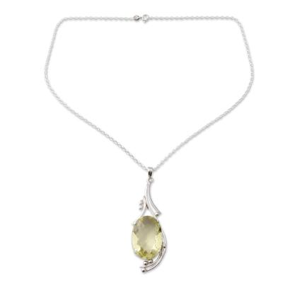 Lemon quartz pendant necklace, 'Mindful Sun' - 18-carat Lemon Quartz Pendant in Sterling Silver Necklace