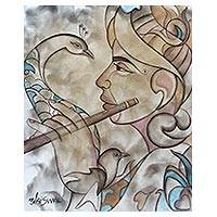 'Krishna the Musician' - Original Signed Painting of Krishna with a Peacock
