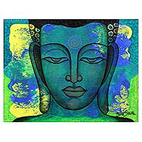 'Peaceful Reign' - Expressionistic Signed Portrait of Buddha in Blue