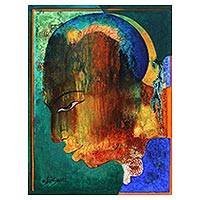 'Colors of Life' - India Signed Man's Portrait in Jewel Colors