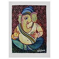 'Happy Ganesha' - India Stylized Oil Portrait of Hindu Lord Ganesha