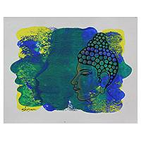 'The Enlightened Buddha' - Blue and Yellow Original Signed Portrait of Buddha