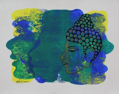 'The Enlightened Buddha' - Blue and Yellow Original Signed Portrait of Buddha