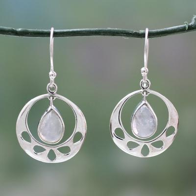 Rainbow moonstone dangle earrings, 'Simply Ravishing' - Rainbow Moonstone jewellery Indian Sterling Silver Earrings