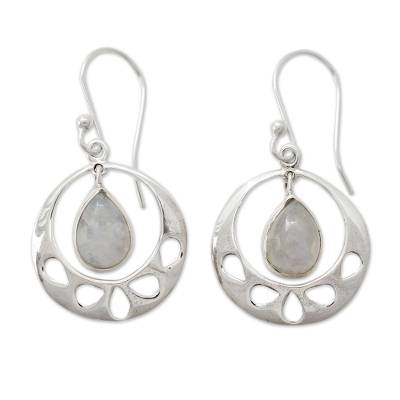 Rainbow Moonstone Jewelry Indian Sterling Silver Earrings