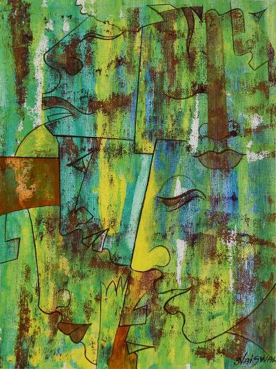 'Moods' - Expressionistic Original India Painting in Hot Colors