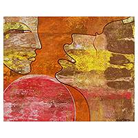 'Affectionate' - Love Theme Expressionistic India Painting in Hot Colors