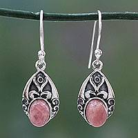 Agate dangle earrings, 'Agra Princess' - Antique Style Handcrafted Rosy Agate and Silver Earrings