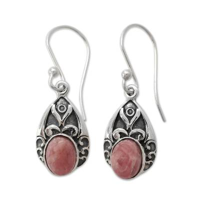 Antique Style Handcrafted Rosy Agate and Silver Earrings