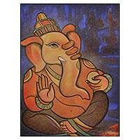 'Siddhi Vinayak' - Cubist Original India Painting of Ganesha Siddhi Vinayak