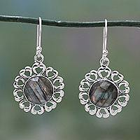 Labradorite flower earrings, 'Mystic Blossom' - India Artisan Crafted Floral Theme Labradorite Earrings