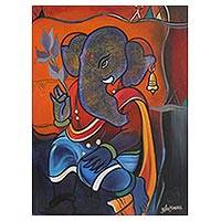 'Peaceful Ganesha' - Hinduism Deity Ganesha Vinayak Painting Signed India Arts