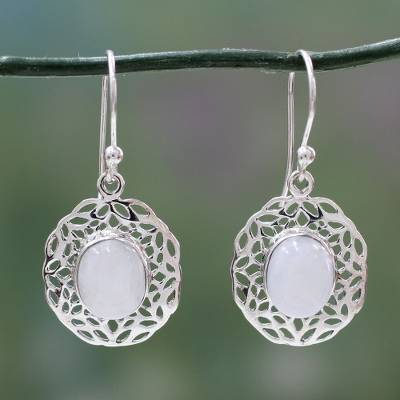 Rainbow moonstone dangle earrings, 'Delhi Dewdrop' - Handcrafted Rainbow Moonstone Earrings with Silver Halos
