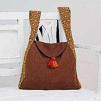 Cotton shoulder bag, 'Thar Desert Travel' - Brown Cotton Shoulder Bag with Yellow and Red Strap