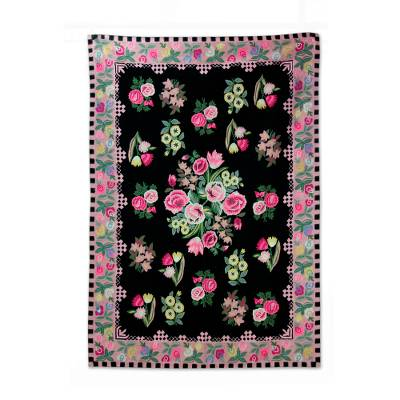 Chain Sched Wool Rug Roses Of Kashmir 4 5x7 Pink