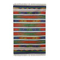 Cotton rug, 'Agra Tribute' (4x6) - Multi colour Hand Loomed 100% Cotton Fair Trade Indian Dhurr